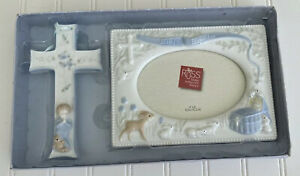 Russ Baby Boy Baptism Christening Cross & Frame Ceramic Blue New in Box