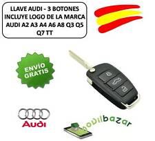 LLAVE CARCASA MANDO AUDI A2 A3 A4 A6 A8 Q3 Q5 Q7 TT 3 BOTONES CON EMBLEMA