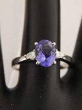 18k White Gold 1.65 tcw Tanzanite D-Block AAA Pear Diamonds Ring G/SI Engagement
