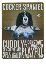 Cocker Spaniel Black White Wall Metal Sign Image / Description of Dog Made in UK