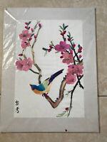 "Vintage Japanese Art Bird Cherry Tree Branch Floral Straw on Silk 16x12"""
