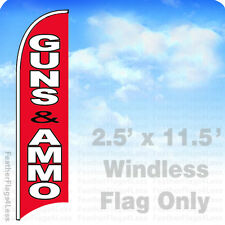 Guns Ammo - Windless Swooper Feather Flag Banner Sign 2.5x11.5' - rb