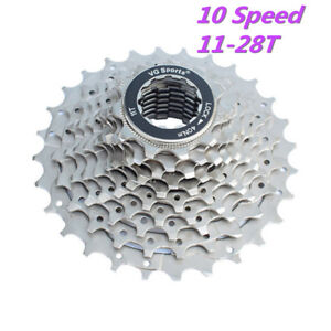 VG Sports For Shimano 10 Speed Bike Bicycle Cassette Freewheel 11-28T Silver