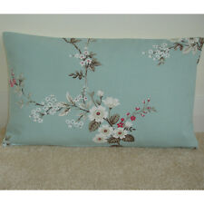 "20""x12"" Oblong Bolster Cushion Cover Pink and Blue Blossom Trees Duck Egg 12x20"