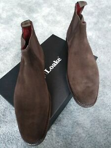Loake Mens Size 9- Suade Chelsea Boots Chocolate Brown Leather - New With Box