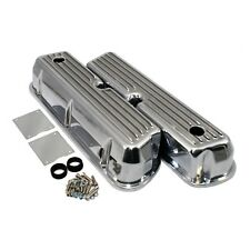 Aluminum Tall Valve Covers Retro Finned Polished 62-85 SBF Ford 289 302 351W 5.0
