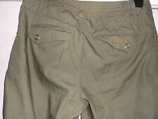 H & M OLIVE GREEN 100% COTTON  CROPPED TROUSERS SIZE 36in HIP