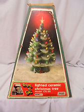 "Vintage Christmas Tree, Trim N Glow Lighted Ceramic, Marcia Of Calif 18"" Tall"