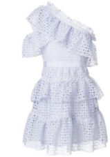 Self Portrait Lilac Organza One Shoulder Lace Mini Dress Size 10