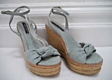 RALPH LAUREN COLLECTION light blue espadrille wedge sandals heels sz 7 WORN ONCE