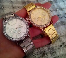 Reloj Unisex Moda Mujer Hombre Acero Inoxidable Quirurgico Dorado o Plata