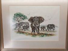 Completed Framed Cross-Stitch Needlepoint Elephant Vintage Animal Wall Art Large