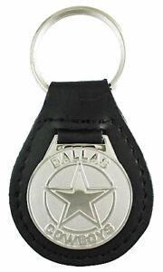 Dallas Cowboys Silver Tone Leather Key Chain With NFL Logo'd Medallion