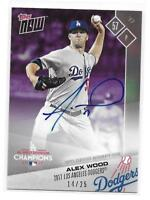 2017 Topps Now Alex Wood Post Season On-Card Autograph Purple 14/25