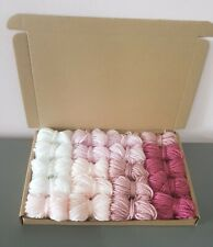 Pink Ombre Dk Wool job lot knitting crochet crafts pom pom square craft macrame