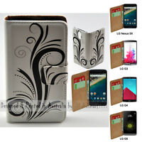 For LG Series Mobile Phone - Black Swirl Theme Print Wallet Phone Case Cover