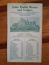 Vintage 1940-50s Lake Parlin House & Lodges Tourist Info Card Fishing - Hunting