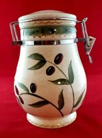 """Oneida Oliveto Hand Painted Stoneware 8"""" Canisterwith Hinged Lid"""