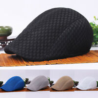 Men Solid Mesh Golf Driving Cap Peaked Flat Hollow Cabbie Newsboy Beret Hat