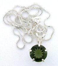 2.33 Carat 10mm Round Moldavite Gem Gemstone PURE Sterling Silver Pendant Chain