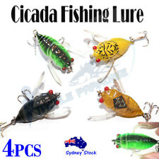 4x Soft Winged Cicada Topwater Fishing Lure Surface Popper Bass Cod Perch Lure