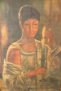 Antique Woman African Oil Painting Woman Carries Candlestick Signed Art Original
