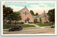 Columbus Ohio~First Community Church~Cambridge Place @ 1st~1920s Cars Out Front