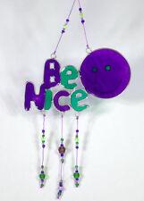 BE NICE suncatcher, purple & green garden mobile, window ornament SHIPS FREE