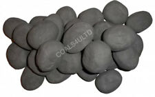 20 GREY GAS FIRE REPLACEMENT PEBBLES COALS STONES 60MM LIVING FLAME MADE IN UK