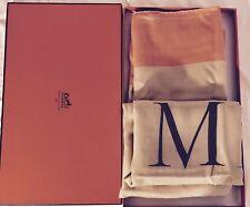 """Hermes CORAL/beige Cashmere & Silk Alphabet """"Literature"""" 140 CM"""