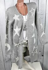 AjC - Weiche Strickjacke Strickmantel Cardigan in hell grau Sterne Gr. 38 40