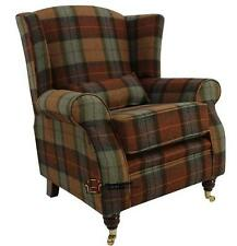 Arnold Fireside High Back Wing Armchair Burnt Orange Check Tartan Tweed Wool