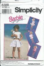 "S 8388 sewing pattern Barbie 4 girls TOP SKIRT SHORTS & 11½"" Doll CLOTHES 5,6,6x"