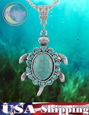 New Sea Turtle Turquoise Rhinestones Charm Tibetan Silver Necklace