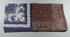 2 Vtg Bandanas Kerchief Scarf Blue Brown 1 Tower