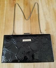 Miche Black Patent Leather Hard Shell Wallet Purse Sliver Chain Strap