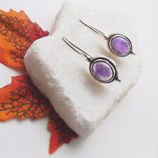 Amethyst oval lila violett Design Ohrringe Ohrhänger 925 Sterling Silber neu
