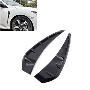 1 Pair Universal Car Auto Glossy Side Door Fender Vent Air Wing Cover Trim Kit
