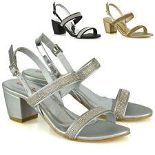 Sandalias De Mujer Tacón Bajo Hebilla del rhinestone Correas De Las Señoras Noche Fiesta Zapatos Talla
