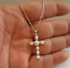 925 STERLING SILVER PEARL CROSS NECKLACE  PENDANT W/ WHITE PEARLS/ 18 INCH
