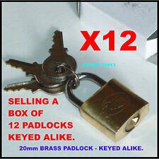 PADLOCKS BRASS 20mm ALL KEYED ALIKE - x 12  - NEW.
