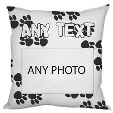 """PERSONALISED PHOTO PAW PRINT DESIGN 18"""" X 18"""" CUSHION PICTURE DOG CAT PET"""
