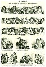Gravure ancienne 1880  de la coiffure  par Donjean  XIXème