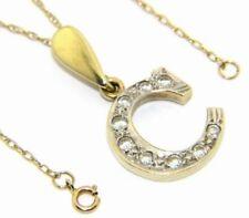 Donne 9ct 9 Carati Oro Giallo 40.6cm Catenina & Zircone Cubico Trasparente