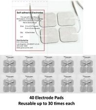 40 Electrode Pads Tens Units 2x2Inch White Cloth Free Shipping! FDA approved