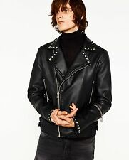 ZARA Man BNWT Studded Faux Leather Biker Jacket EU/UK/US L Ref. 2522/400