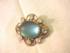 Antique Brooch Pin  Blue Saphiret glass cabochon &opalescent  rhinestones