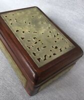 Antique Carved Birds of Paradise Jade Green Hardstone Pierced Panel Wooden Box