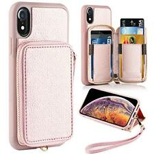 iPhone XR Wallet Case Shockproof Zipper Leather Card Slot Purse Cover Rose Gold