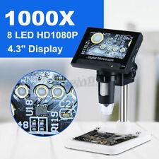 "Multifunction 1000X 4.3"" Electronic HD Microscope LCD Screen Digital Video 8 LED"